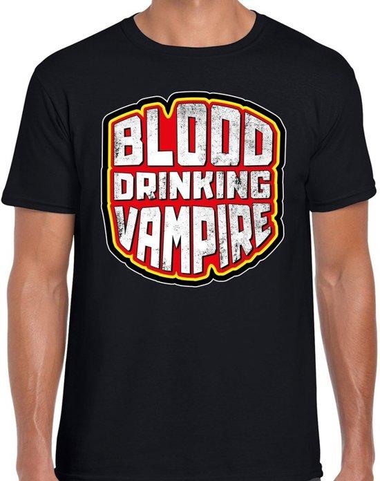 Halloween -  Halloween blood drinking vampire verkleed t-shirt zwart voor heren - horror shirt / kleding / kostuum M