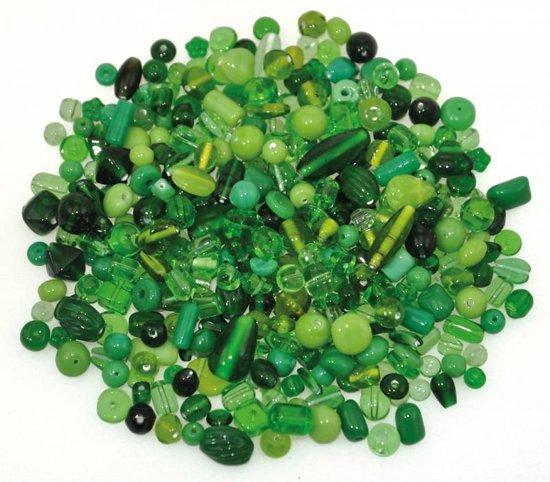 200g Glasparels Mix van groene kleuren