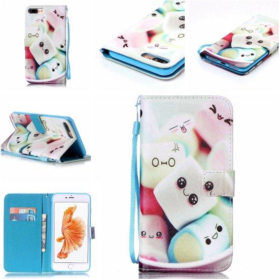 iPhone 7 Plus Bookcase Hoesje - Portemonnee Hoesje - Telefoonhoesje - Cover - Bookstyle Hoesje - Booktype Hoesje - Klap Hoesje - Flip Cover - Smartphonehoesje - Wallet Hoesje - Boek Hoesje - Book Case - Portefeuille Hoesje - Case - Bookstyle Case - Hoes - Beschermhoesje - Wallet Case - Marshmallows in Hee