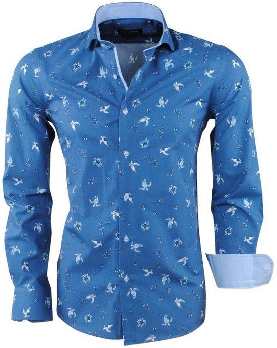 Overhemd Getailleerd Heren.Bol Com Dom Tower Heren Overhemd Turtle Navy