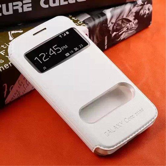 Samsung Galaxy Core Prime | Prime VE Hoesje Wit met Venster in De Kraats