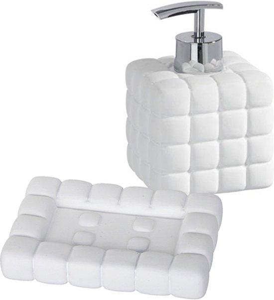 WENKO Cube set met zeepdispenser plus zeepschaaltje | MAT WIT