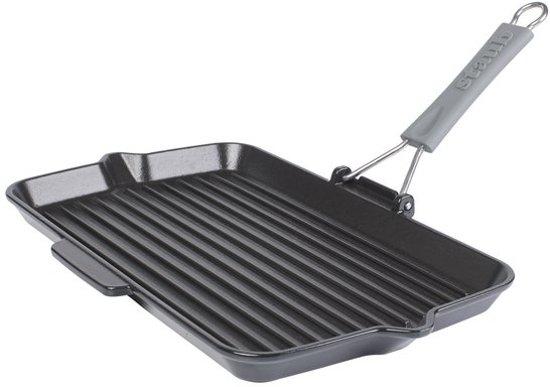 Staub - Grillpan met handvat - Gietijzer - 34 x 21cm - Zwart
