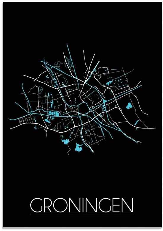 Plattegrond Groningen Stadskaart poster DesignClaud - Zwart - B2 poster