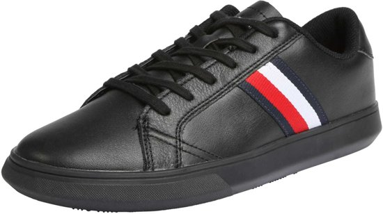 Tommy Hilfiger Essential Leather Cupsole FM0FM02388-BDS, Mannen, Zwart, Sneakers maat: 42 EU