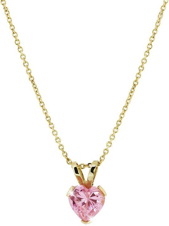 Lucardi - Geelgouden ketting & hanger hart met roze zirkonia