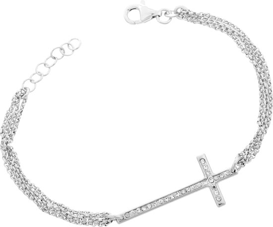 Orphelia ZA-7196 - Armband multiple chains cross - 925 Zilver - Cubic Zirconia - 19 cm