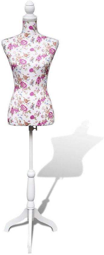 vidaXL - Paspop Vrouwen torso paspop katoen wit met rosen