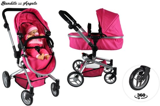 Bandits and Angels Pink Angel 2in1 poppenwagen