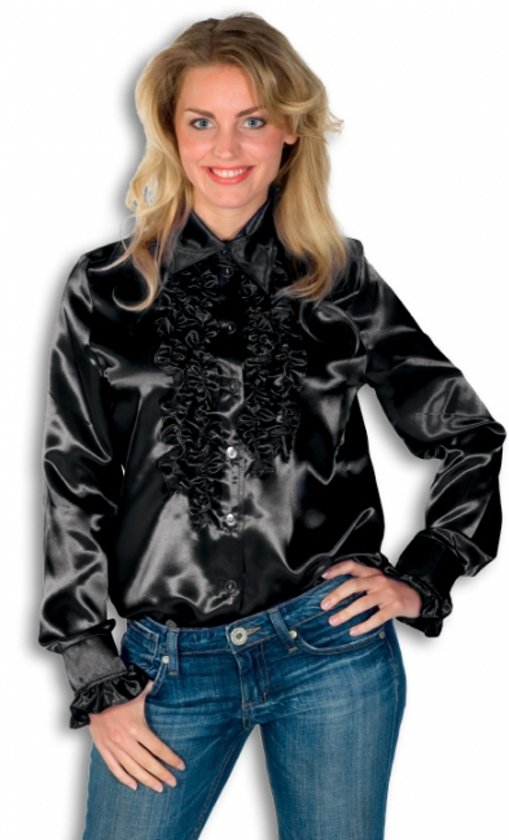 Rouches blouse zwart dames 36 (s)