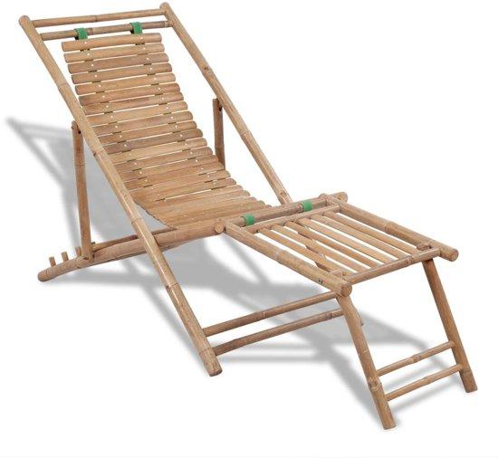Strandstoel Met Voetensteun.Bamboe Ligstoel Met Voetensteun