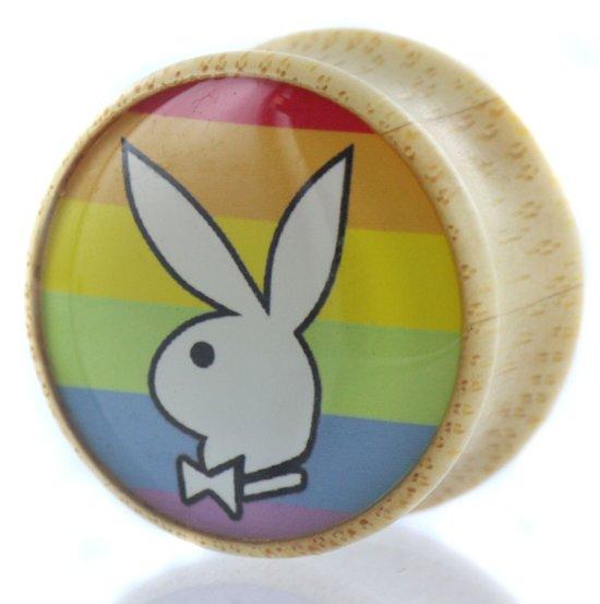 Playboy Bunny Regenboog Saddle Plug - 19 mm (per paar)