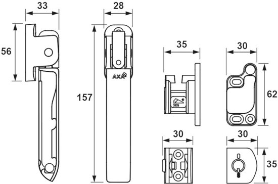 AXA Oyster Veiligheids combi-raamsluiting - 3355-15-81/L  - links - RVS