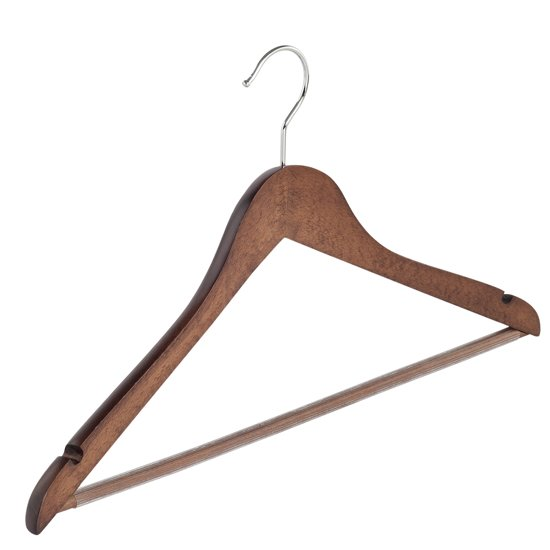 De Kledinghanger Gigant - 5 x Blouse / shirthanger walnoten gebeitst met rokinkepingen en anti-slip broeklat, 44 cm