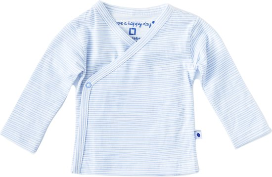 Little Label Unisex Overslagshirt - light blue stripes - Maat 50/56