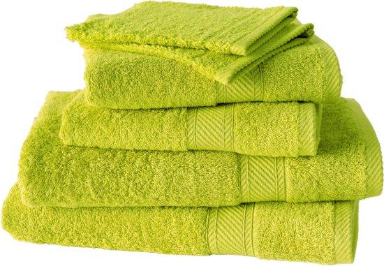 De Witte Lietaer  Hélène  –  Washandjes, badhanddoeken & douchelakens-  Groen/geel - Set van 6