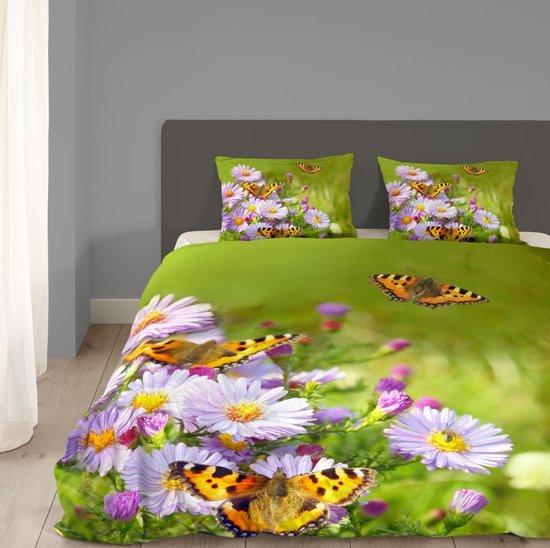 Lits jumeaux dekbedovertrek met vlinders - 4734-P (240x200/220 cm + 2 slopen)