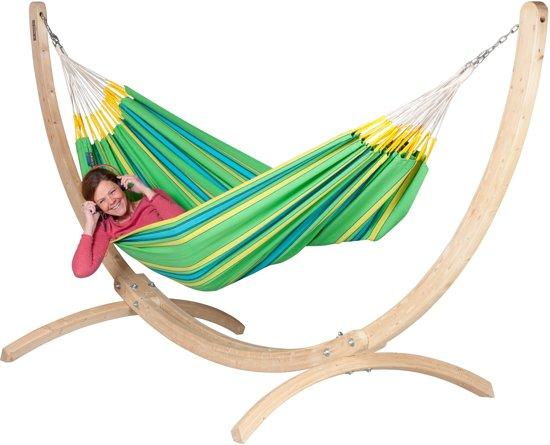 Hangmatset: 2-persoons hangmat CURRAMBERA kiwi + Standaard voor 2-persoons hangmat CANOA