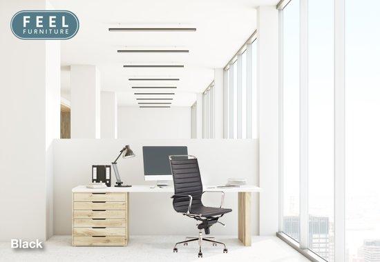 Feel Furniture - Luxe design bureaustoel van 100% rundleer - Hoge rugleuning - Zwart