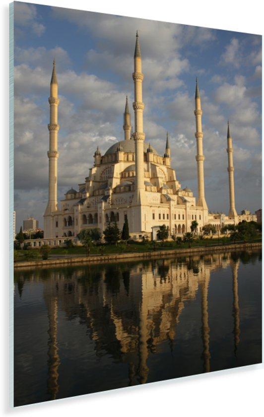 Ochtendlicht beschijnt de wondermooie Sabanci Moskee in Turkije Plexiglas 80x120 cm - Foto print op Glas (Plexiglas wanddecoratie)