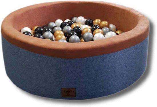 Blauwe ballenbad - stevige ballenbak - 90 x 40 cm - 200 ballen Ø 7 cm - wit, goud, zilver, zwart
