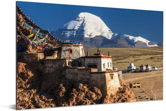 Schemering over de Tibetaanse Kailash nabij China Aluminium 180x120 cm - Foto print op Aluminium (metaal wanddecoratie) XXL / Groot formaat!