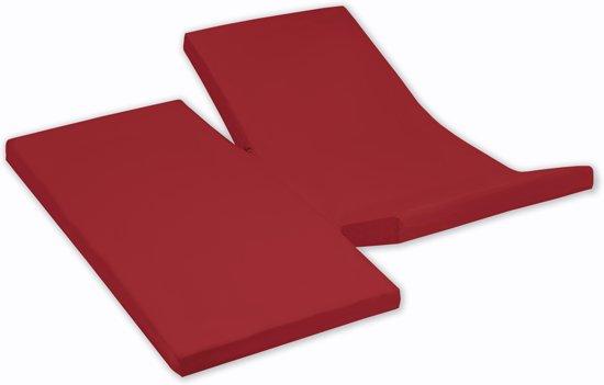 Damai - Hoeslaken dubbele split (tot 35 cm) - Katoen - 180 x 210 cm - Red