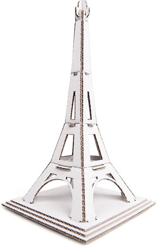 Leolandia - mini Eiffeltoren bouwpakketje - 8.5x8.5x16 cm - wit