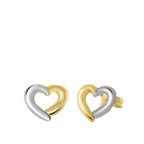 Lucardi - 14 Karaat gouden bicolor oorbellen hart opengewerk