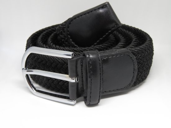 Gevlochten Elastische Riem - Comfort Riem - Zwart - 100 cm - Jeansmaat 32-33