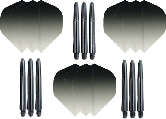 3 sets (9 stuks) Super Sterke - Dragon darts  - Fade Top Zwart - darts flights - plus 9 extra zwarte - darts shafts