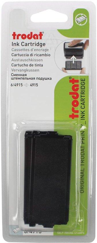 7x Trodat vervangkussen zwart, voor stempel 4915, blister met 2 stuks