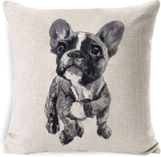 Kussenhoes - Franse Bulldog puppy - Woondecoratie - Hoes voor kussen - 45 x 45 cm