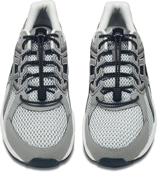 Lock Laces Elastische Schoenveters Elastiek Veters Hardlopen Running Sport Dames Heren Kinderen Kids Zwart 2 Stuks Voor 1 Paar