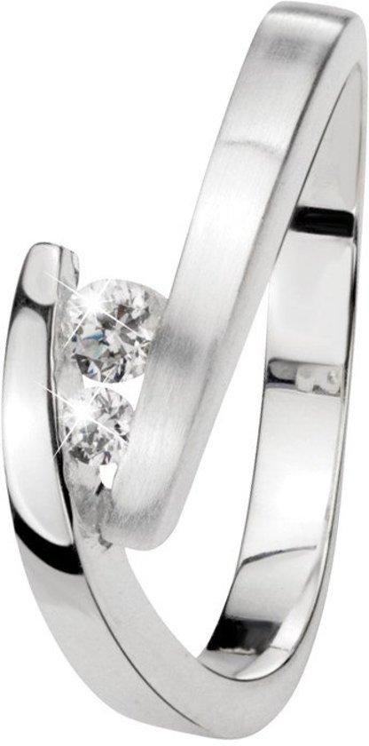 Lucardi - Zilveren ring met 2 witte zirkonia stenen