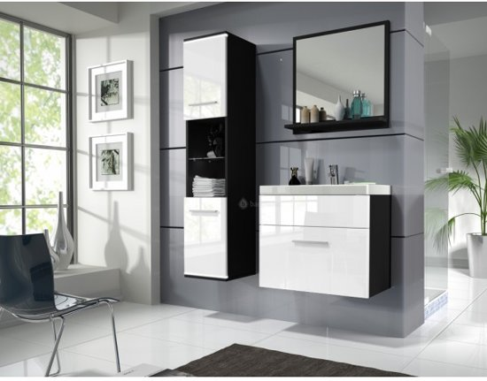 Badkamermeubel Zwart Wit : Duo badkamermeubel zwart wit cm breed badkamermeubilair w o
