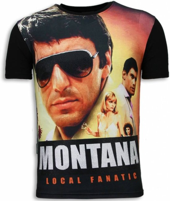 Local Fanatic Tony Montana - Digital Rhinestone T-shirt - Zwart - Maten: S