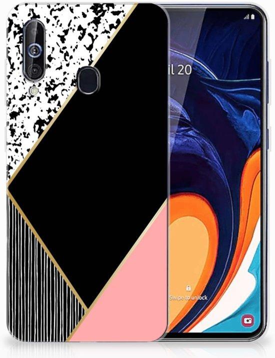 TPU Hoesje Samsung Galaxy A60 Zwart Roze Vormen