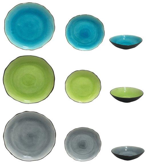 servies groen blauw