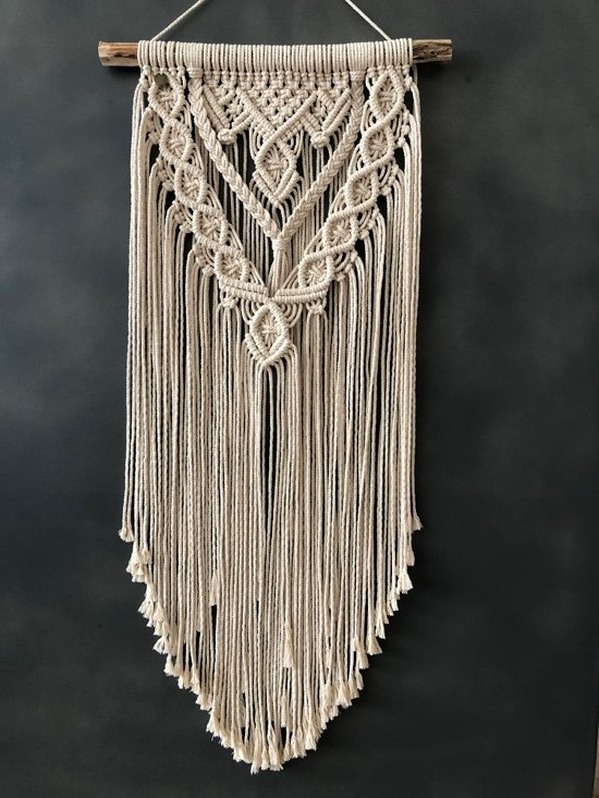 Macrame muur opknoping , home décor, bukuri wand decoratie - 123 beige