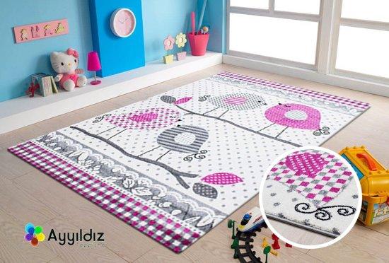 Vloerkleed Kinderkamer - Vogels - Roze