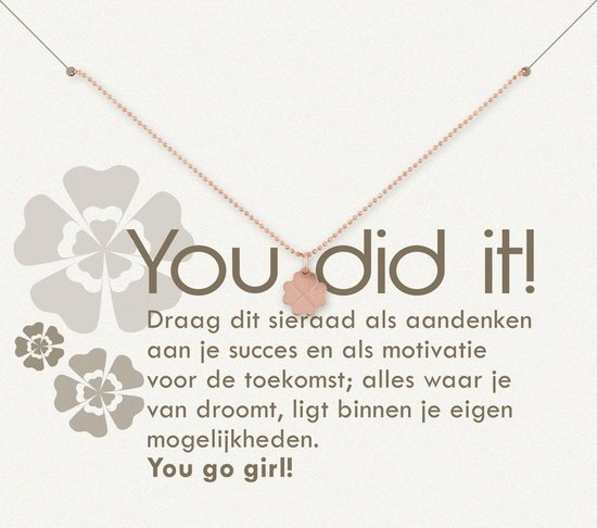 Simply Because You did it! Ketting (roségoud, bedel klavertje) 42 cm
