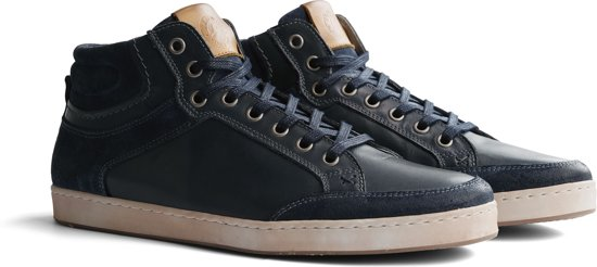 Travelin Leicester Leather - Halfhoge nette sneakers - Blauw leer