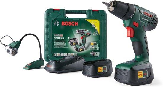 Bosch PSR1800 LI-2 Accuboormachine - 18 V - Incl. gratis kunstofkoffer, snellader en 2 accu's van 1.5 Ah