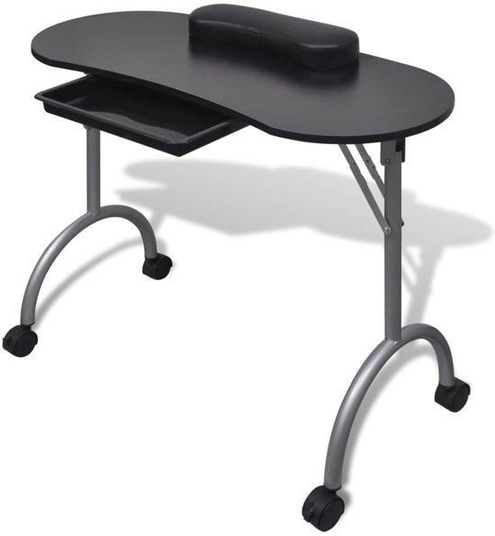 vidaXL Manicuretafel inklapbaar met wieltjes zwart