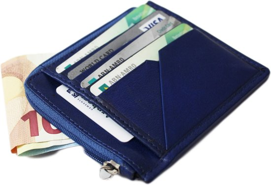 Creditcard Portemonnee Leer.Bol Com Blauw Compact Klein Leren Portemonnee Creditcard Houder