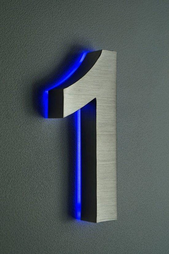 huisnummer met led verlichting van rvs hoogte 20cm nummer 1 incl 12 volt dc