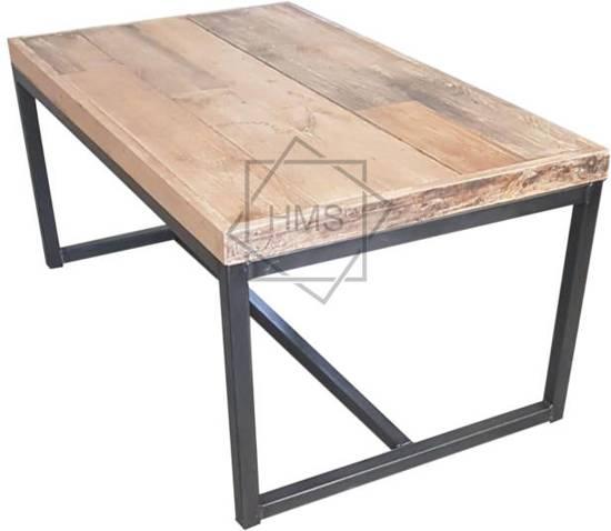 Salontafel Hout Met Stalen Frame.Industriele Salontafel Sloophout Met Stalen Frame