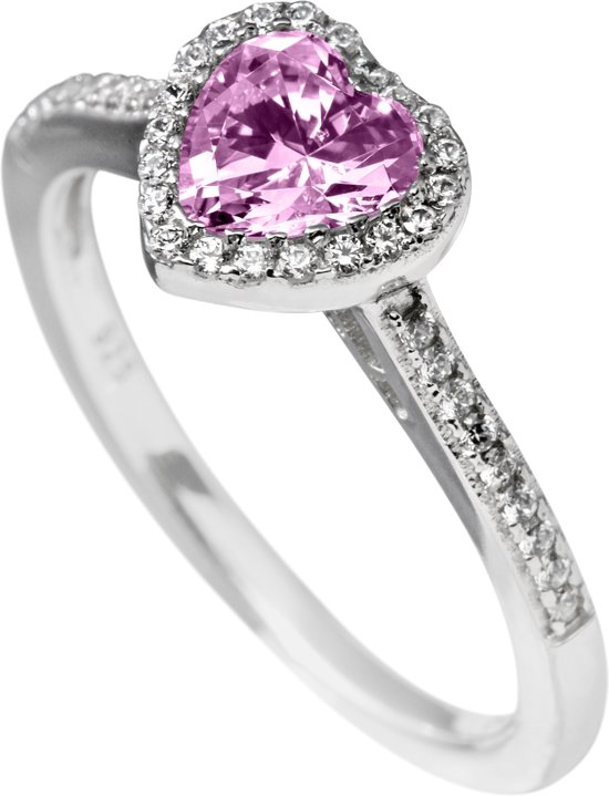 Diamonfire - Zilveren ring met steen Maat 18.5 - Entourage - Hart - Roze steen