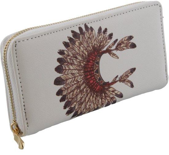 Hippe wiite portemonnee met een afbeelding van een verentooi.
